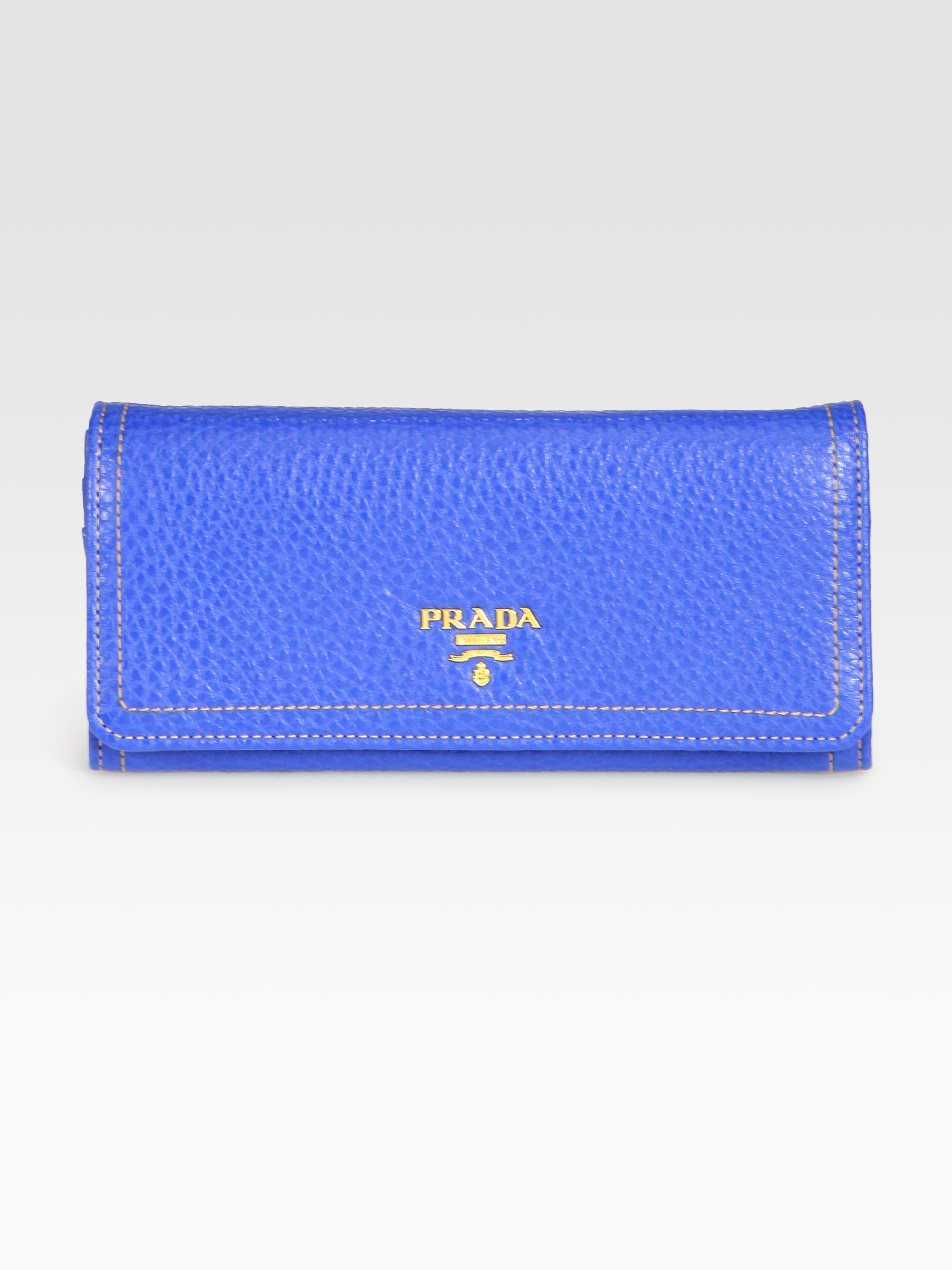 c5a0116852a4 Lyst - Prada Vitello Daino Flap Continental Wallet in Blue for Men