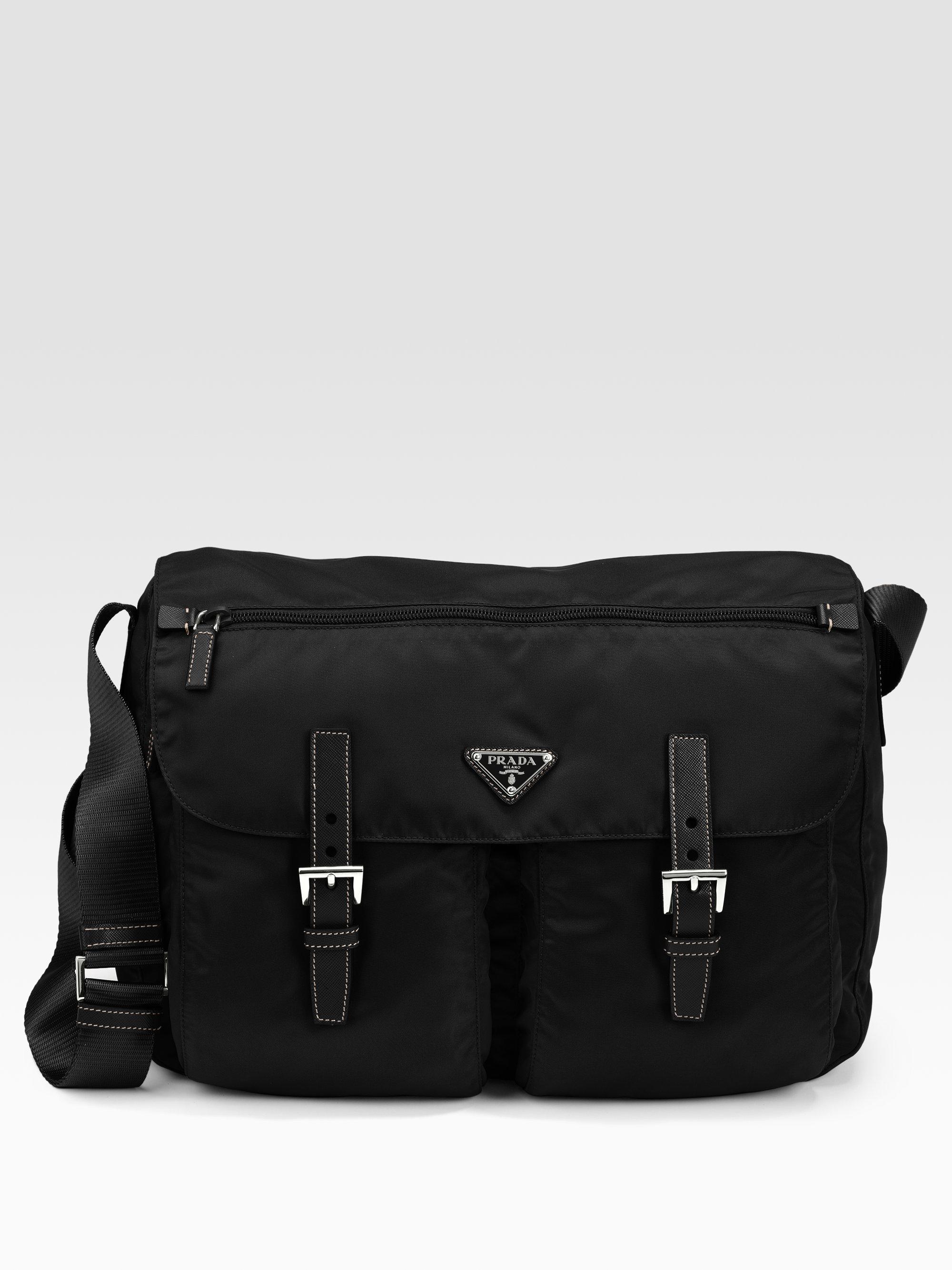 prada mini backpack - Prada Vela Two-pocket Messenger Bag in Black for Men | Lyst