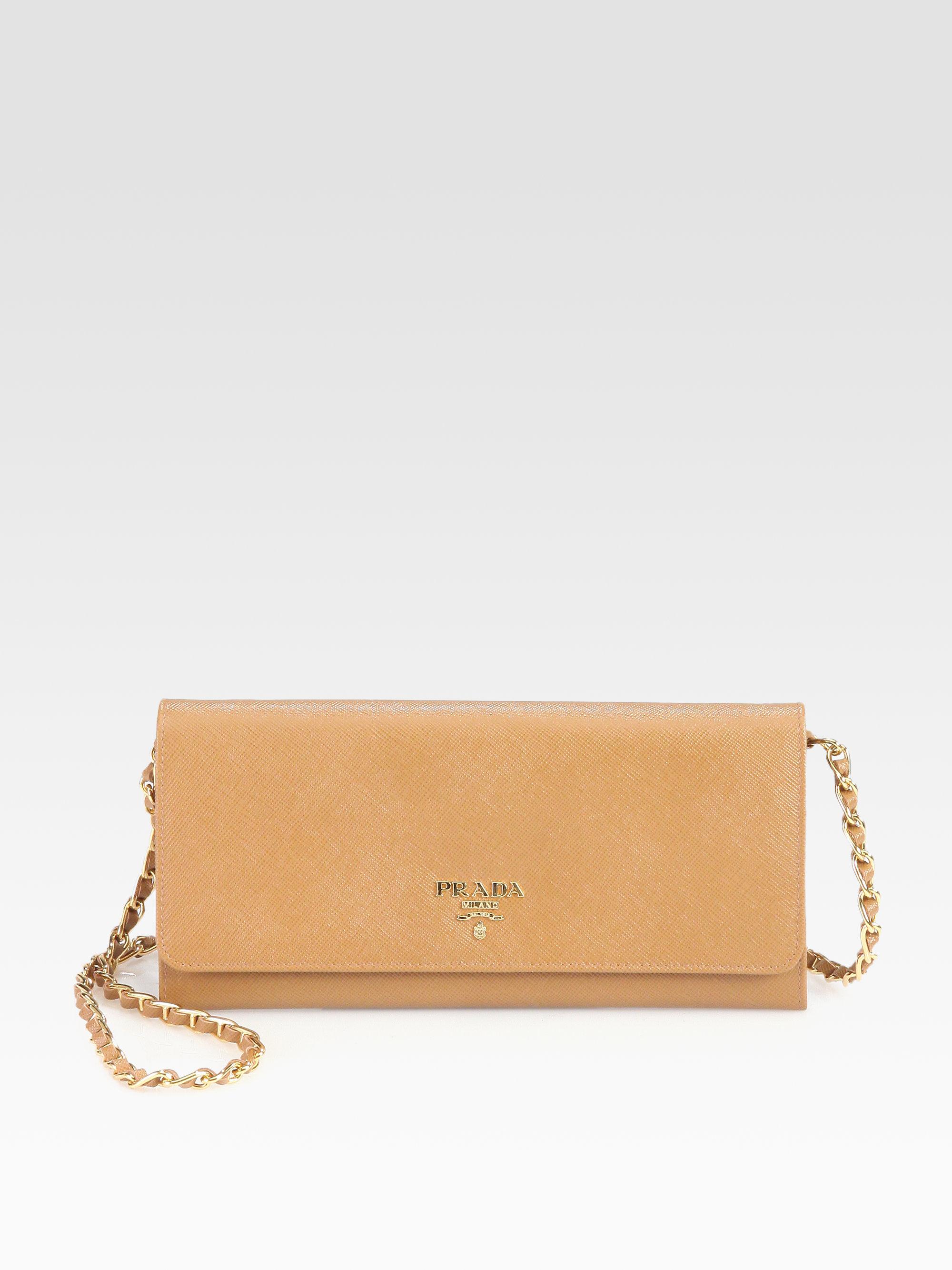 official store prada saffiano leather key holder wallet nero black ae45e  6c4d0  get lyst prada saffiano metal oro chain wallet in brown b88d4 55a92 7f57b7f9dc54c