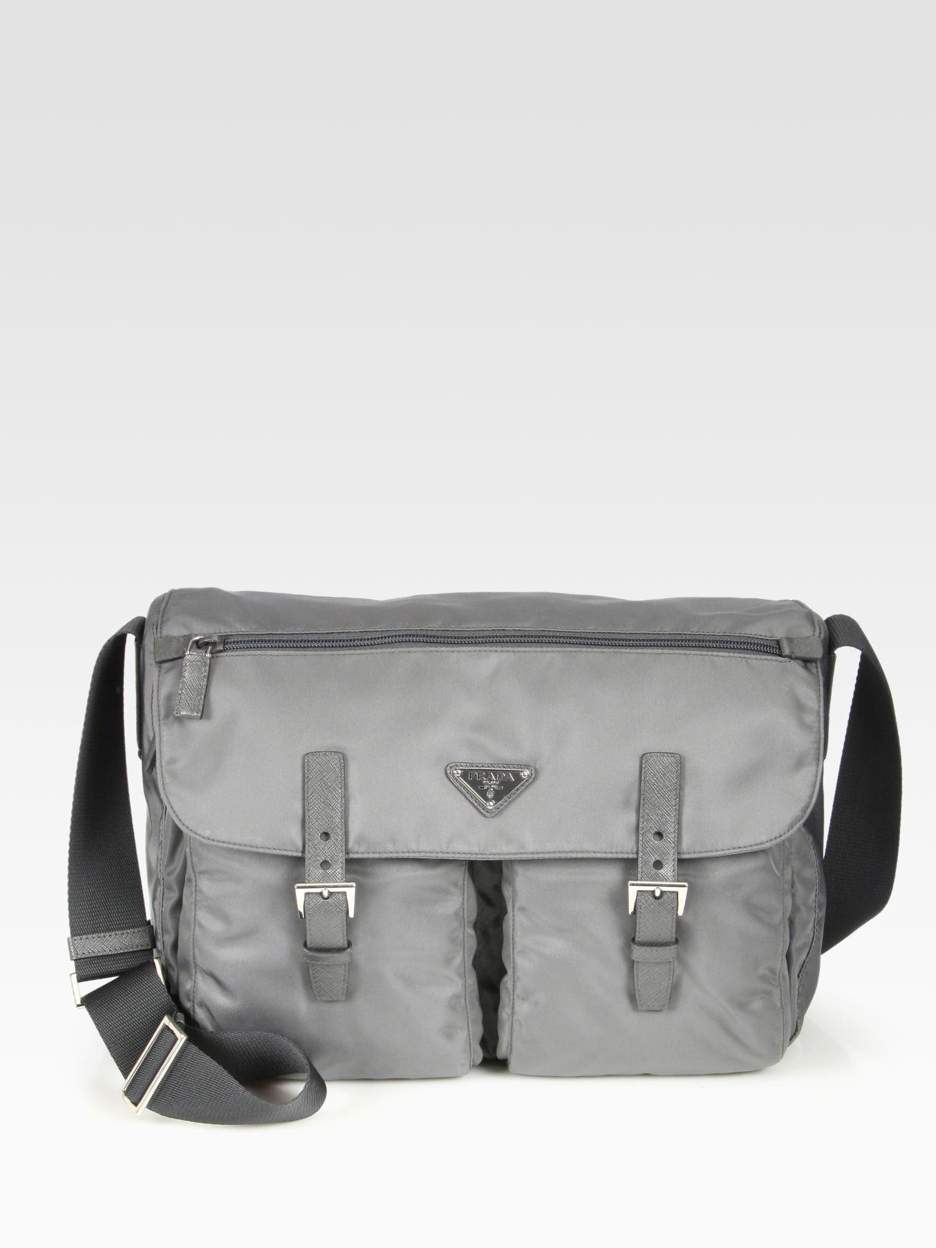 cf09f070a04529 ... australia lyst prada vela messenger bag in gray for men 4e012 56b59