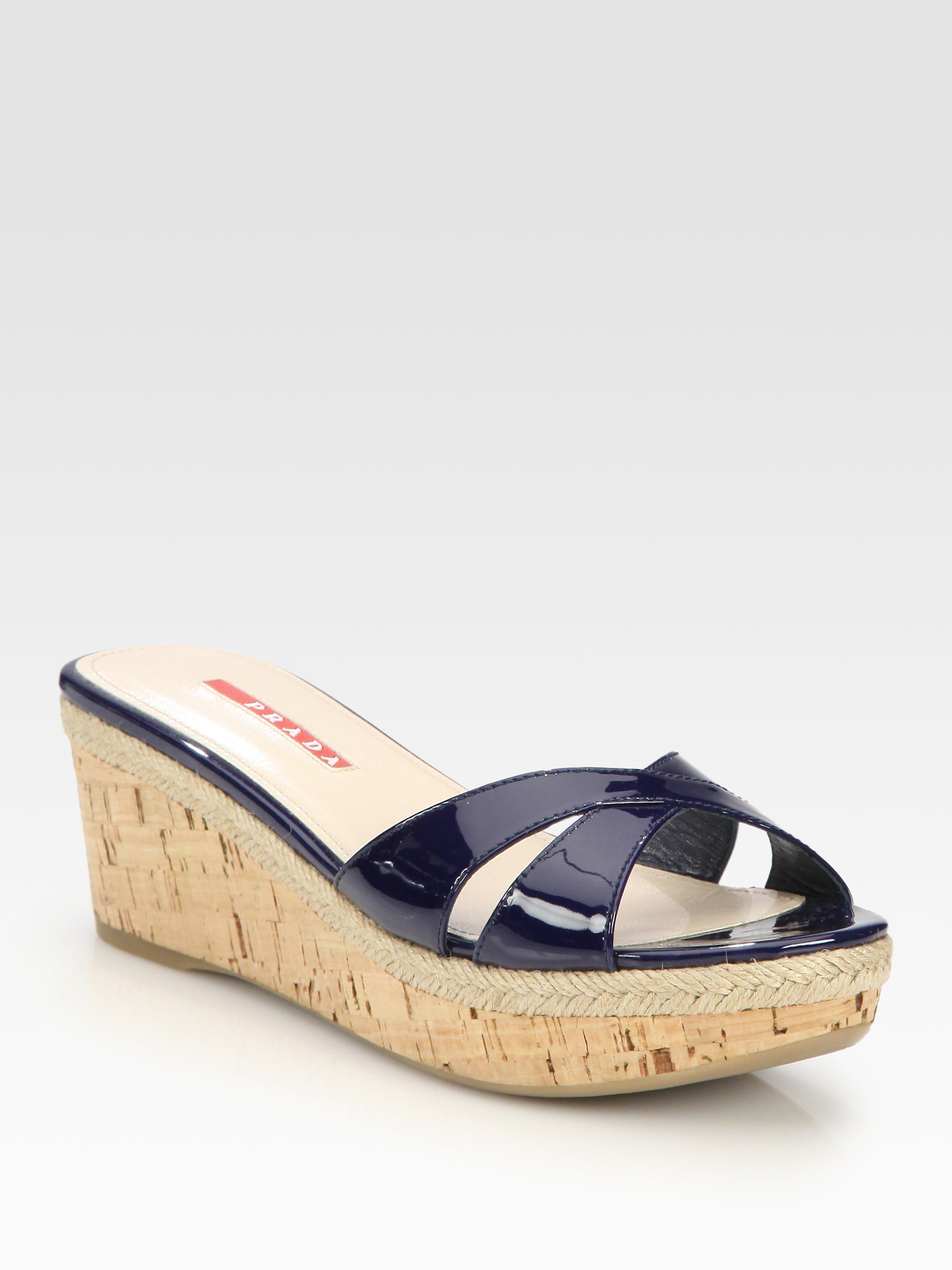 Prada Patent Leather Cork Wedge Slides in Blue (navy) | Lyst