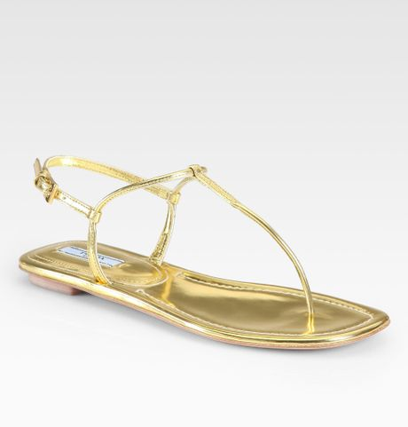 564e8f64319 Prada Metallic Leather Thong Flat Sandals in Gold (oro-gold)