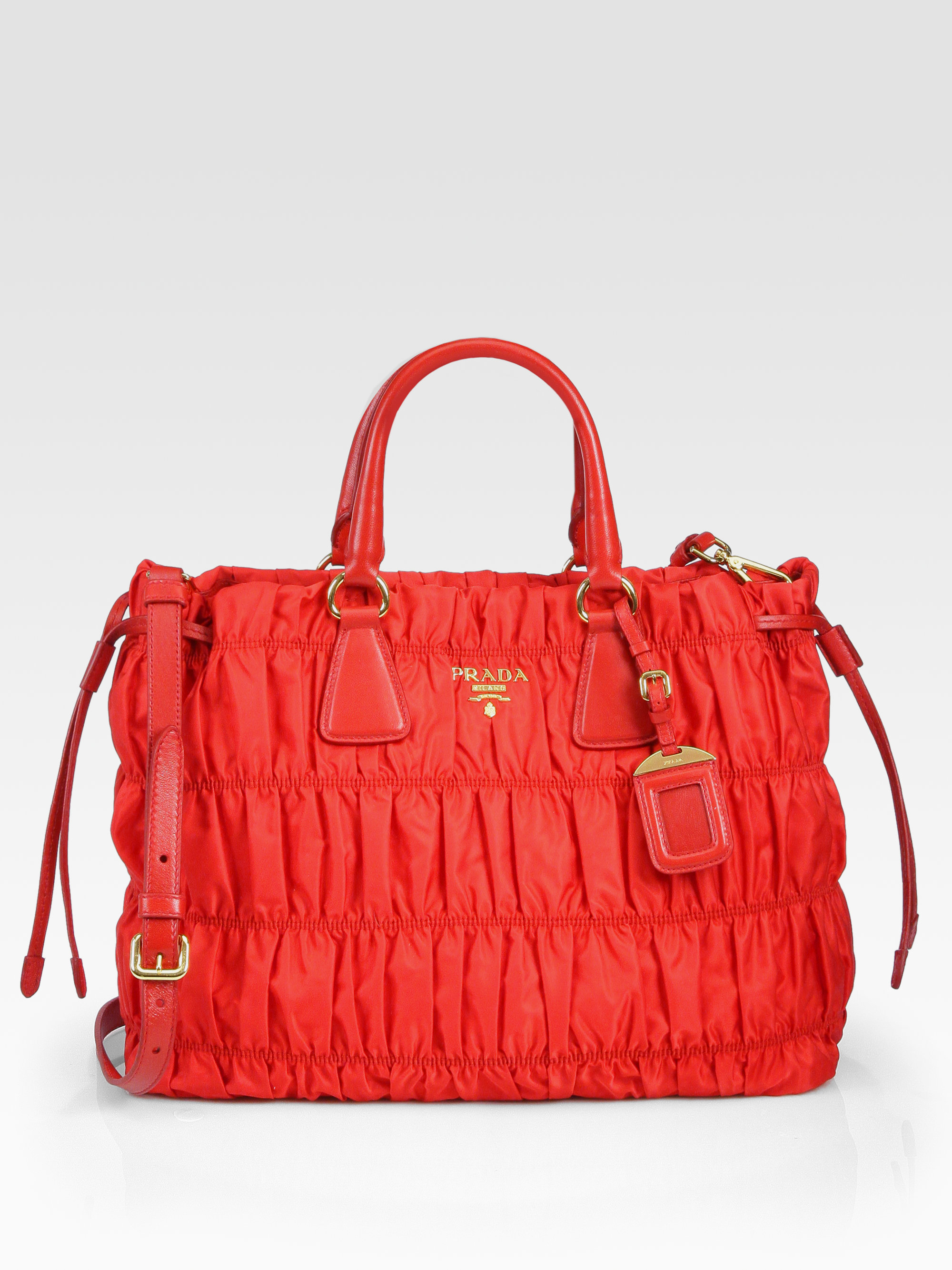 f74e270ed60b ... discount reduced lyst prada tessuto gaufre tote bag in red c9140 d34e6  c8320 c7aa2