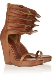 Rick Owens Ribbed Leather Wedge Sandals - Lyst