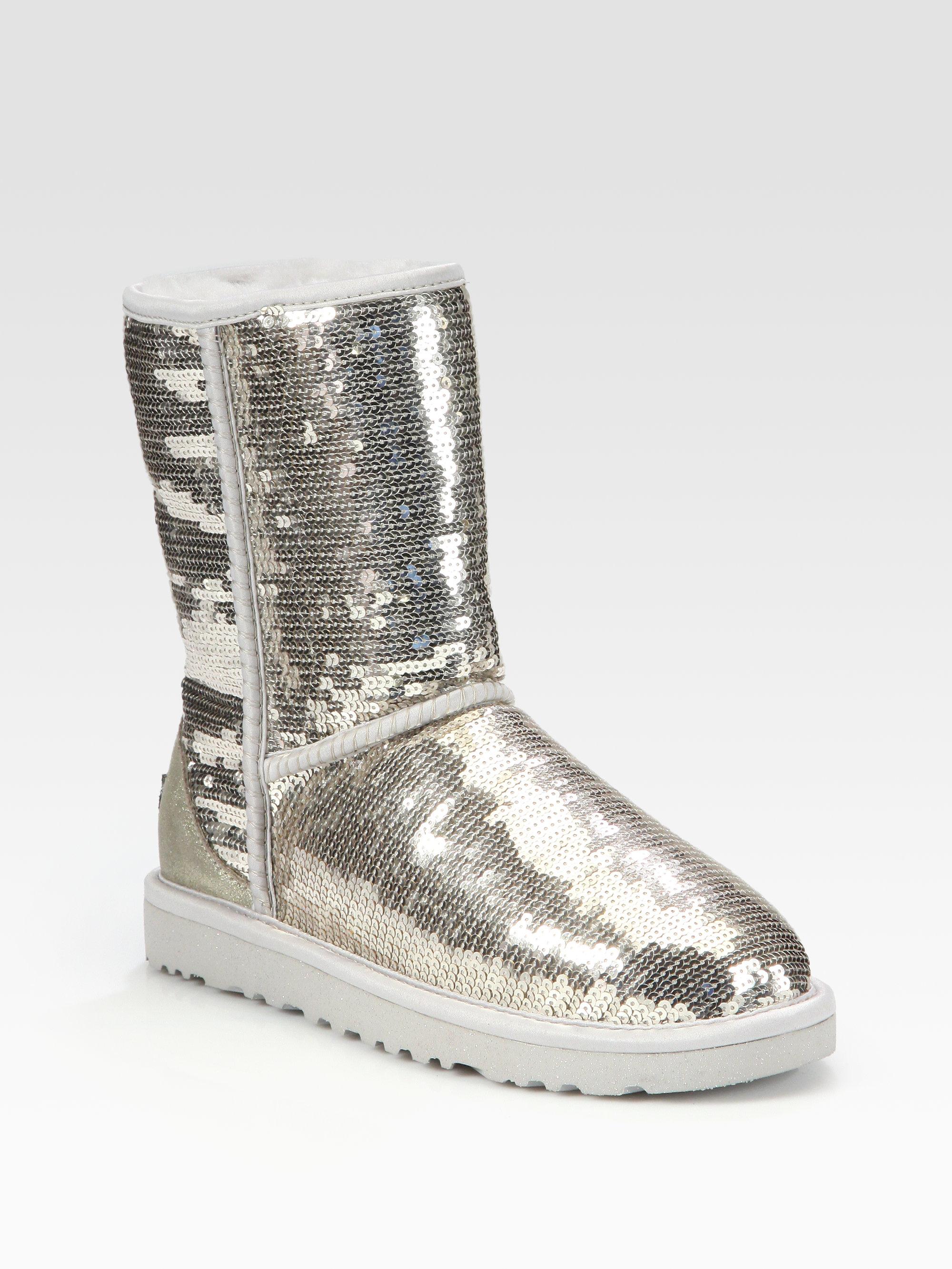 493210e51c4 UGG Classic Short Suede Sequin Boots in Metallic - Lyst
