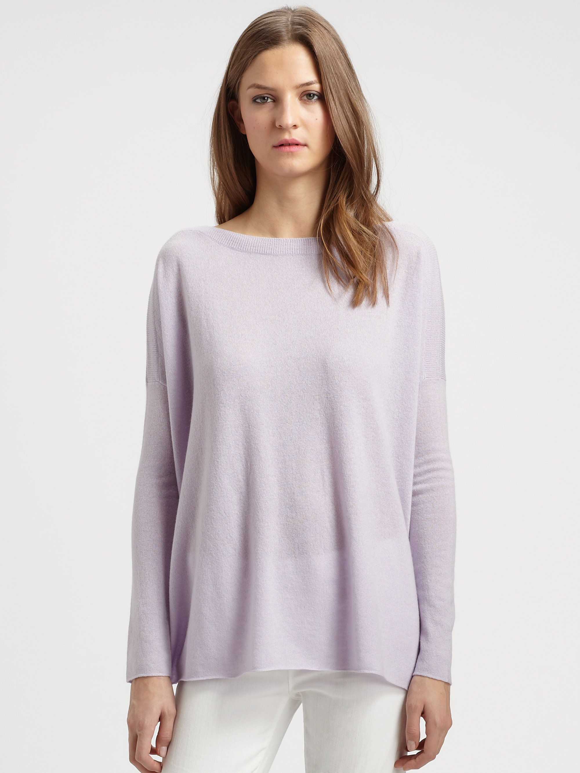 Vince Cashmere Boatneck Sweater in Purple | Lyst