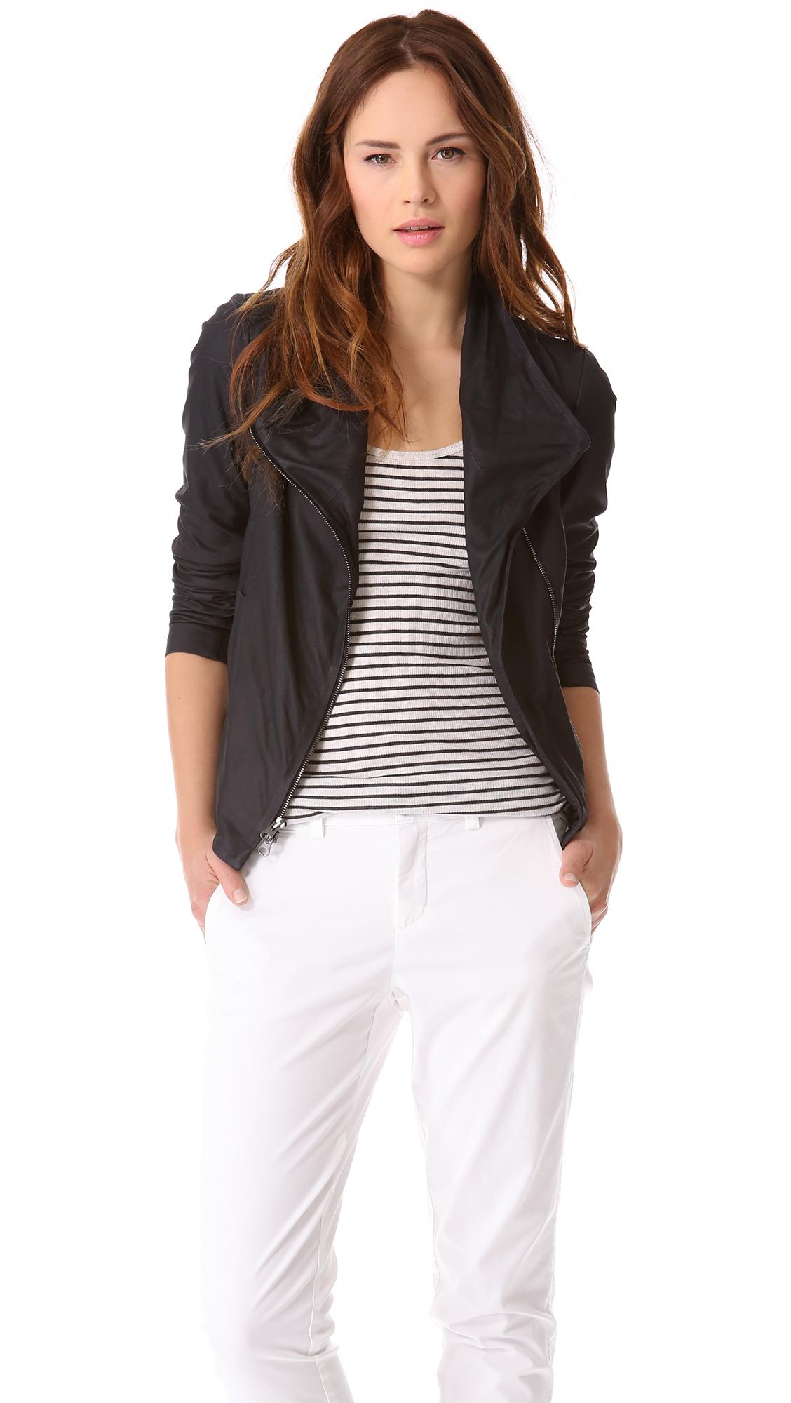 Vince Paper Leather Scuba Jacket In Black Coastal Lyst