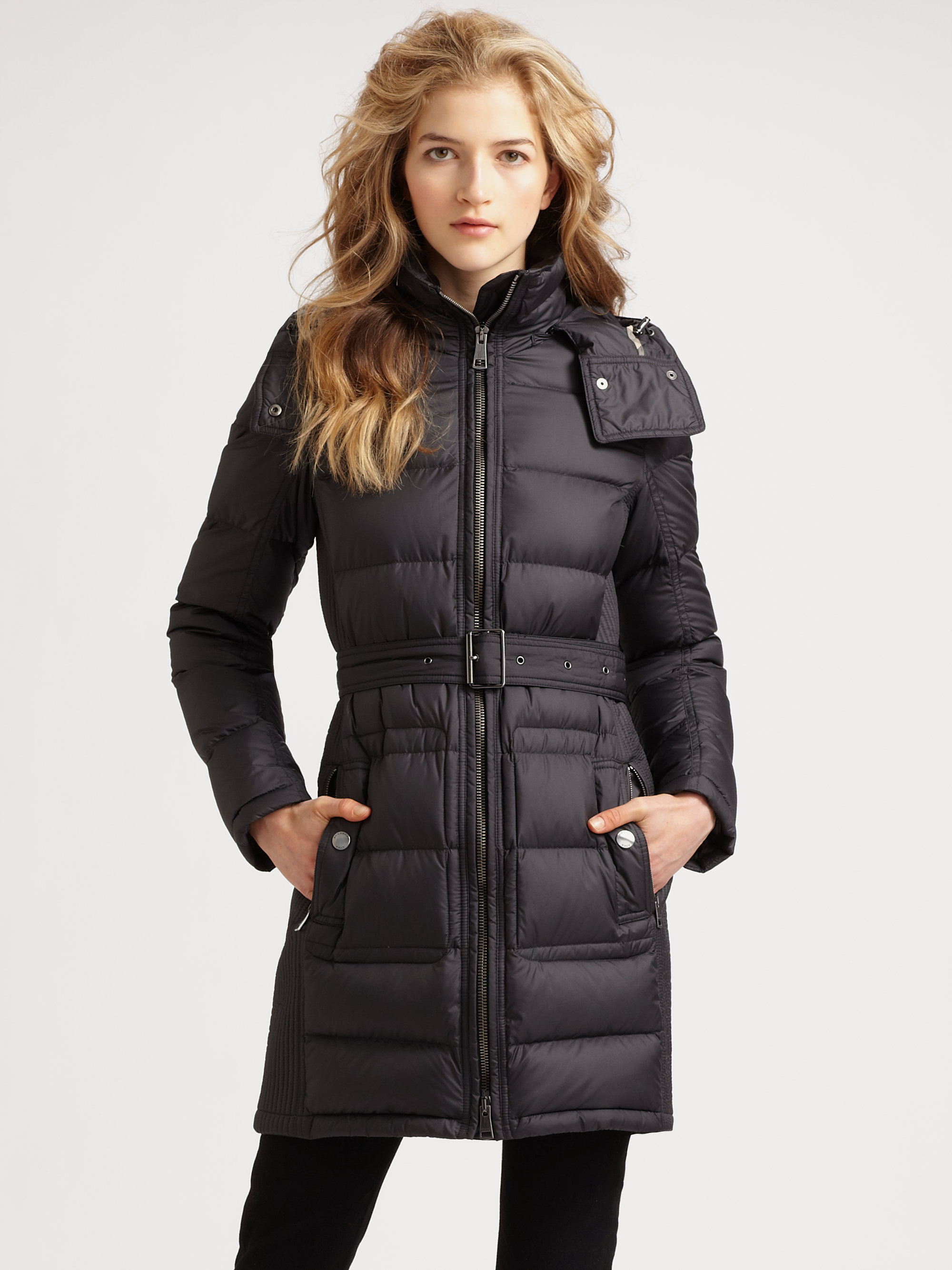 Burberry Brit Quilted Buckle Belt Puffer Coat In Gray Lyst