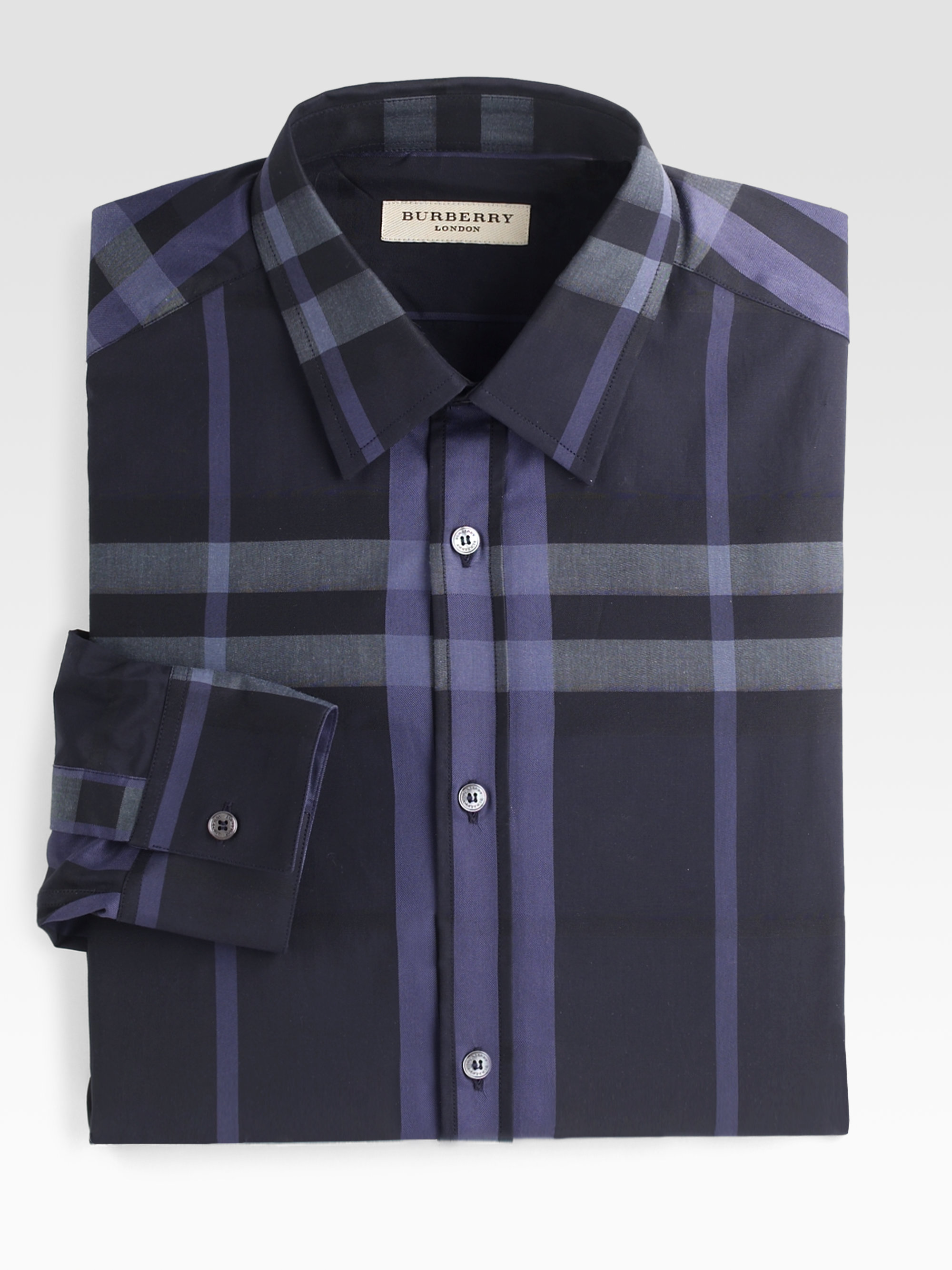 Lyst Burberry Treyforth Check Dress Shirt In Blue For Men