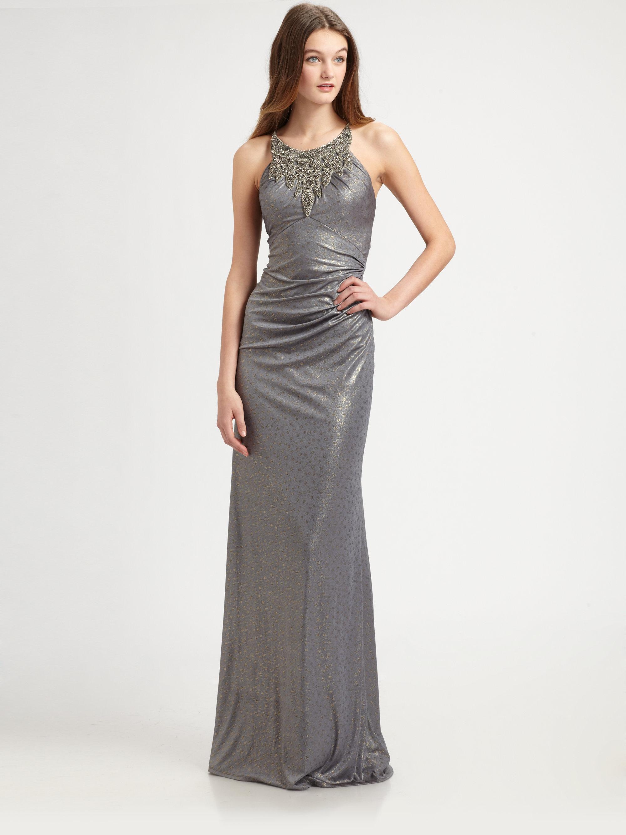 Lyst - David Meister Metallic Gown in Metallic