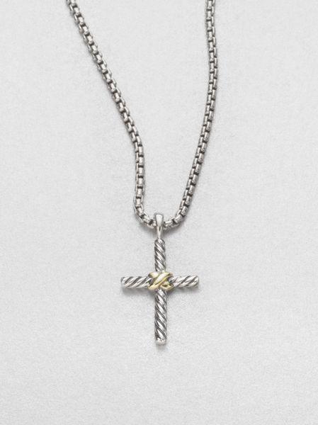 david yurman sterling silver 14k yellow gold cross