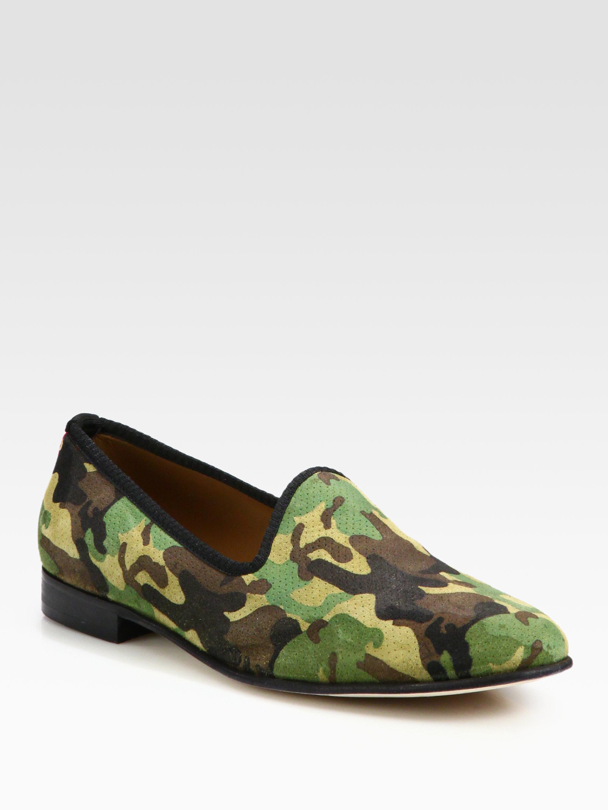 Del Toro Camouflage Suede Slipper Shoe In Green For Men Lyst
