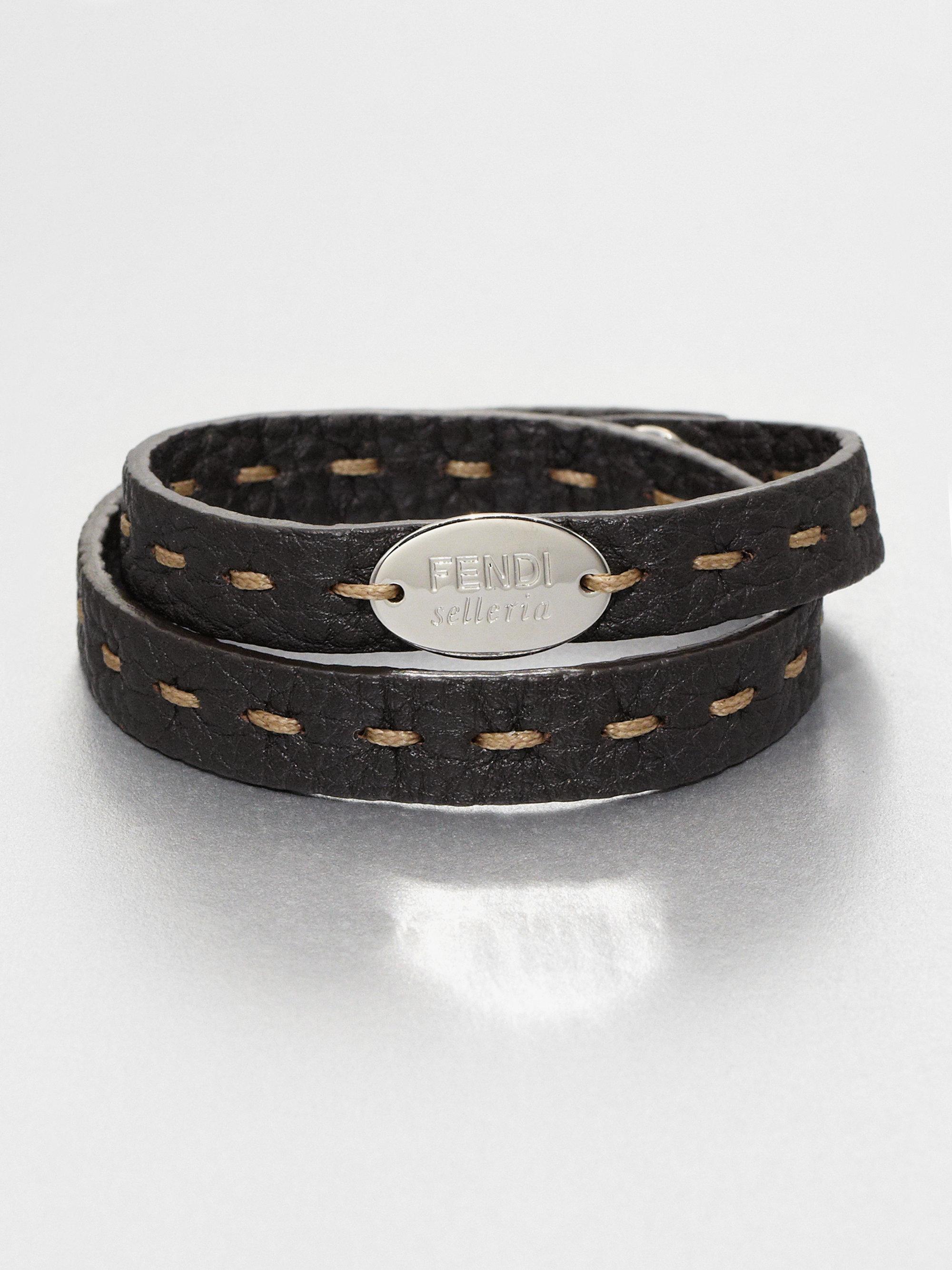 Fendi Selleria Leather Bracelet In Black For Men Lyst