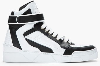 Givenchy Black White Leather Hightop Sneakers - Lyst