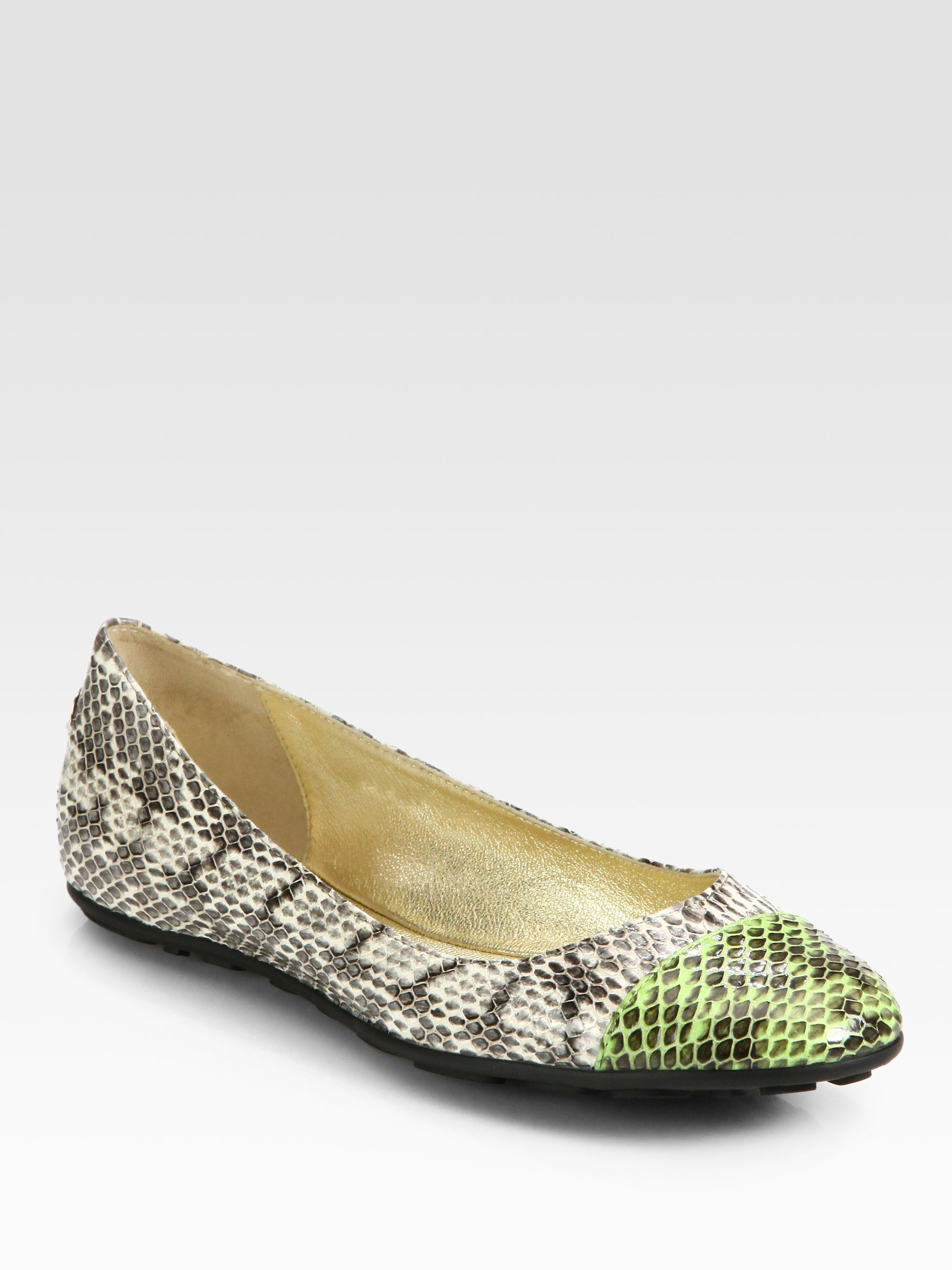 955b4924e9 Jimmy Choo Whirl Snakeskin Captoe Ballet Flats - Lyst