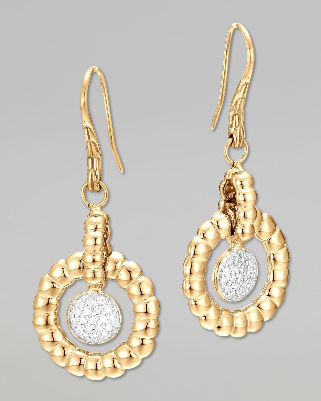 John hardy 18k bedeg gold diamond drop earrings in gold for John hardy jewelry earrings
