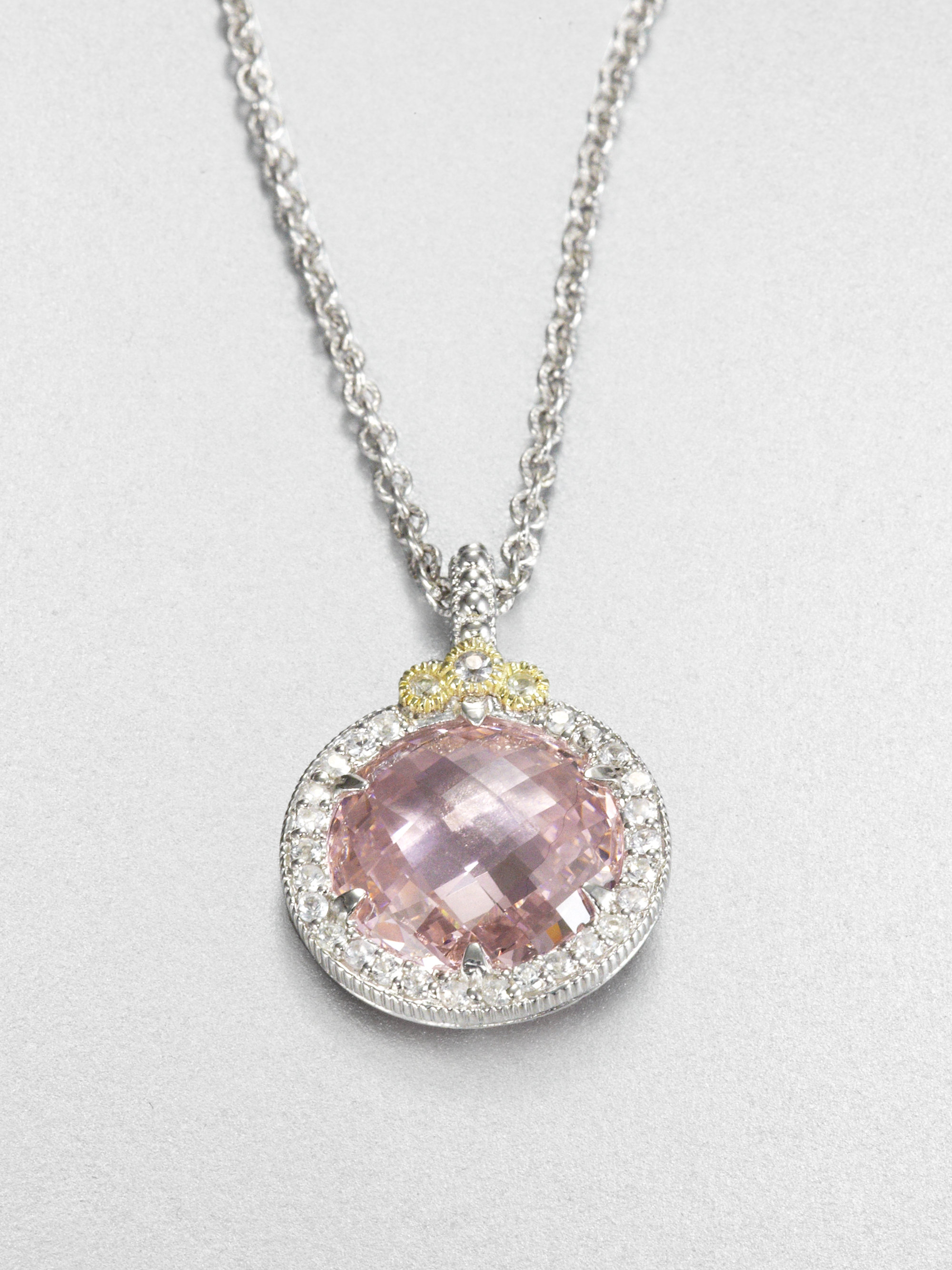 Lyst judith ripka white sapphire pink crystal pendant necklace in pink gallery aloadofball Images