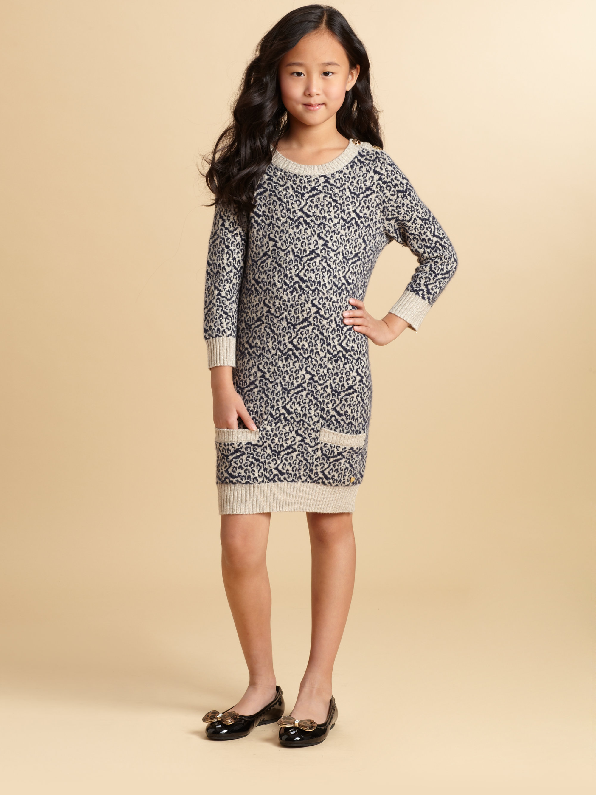 Lyst juicy couture girls snow leopard sweater dress in gray for Couture clothing