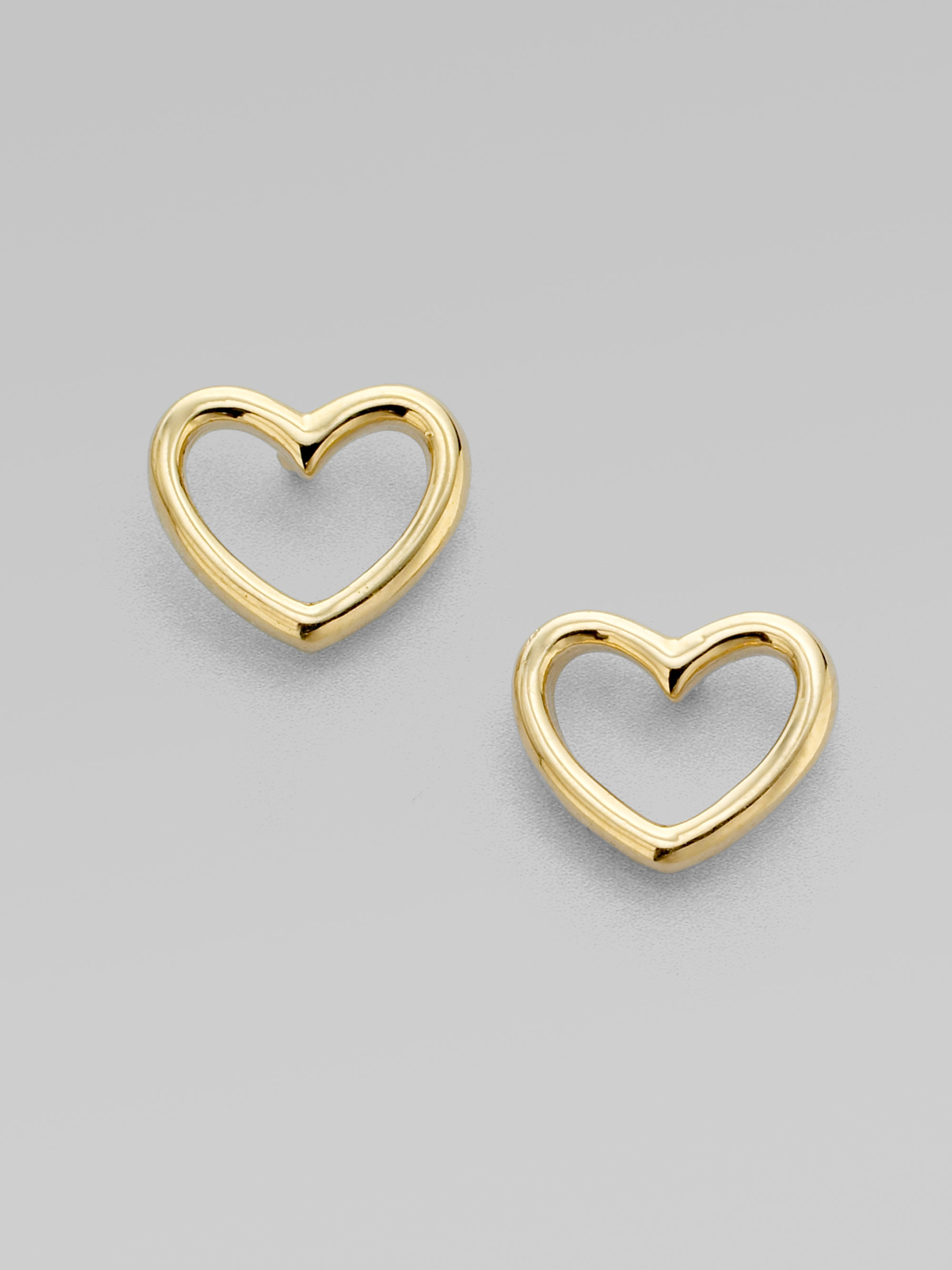 jewelry metallic lyst in by earrings product marc shaped jacobs heart gold gallery