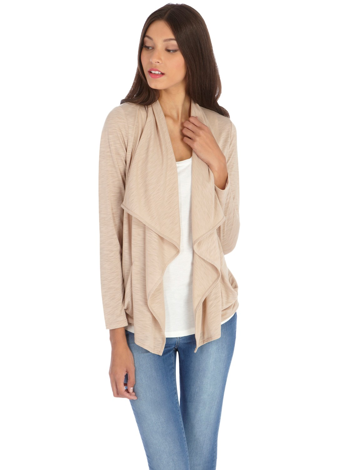 Oasis Waterfall Cardigan in Natural | Lyst