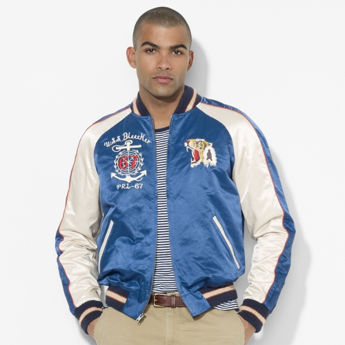 Polo ralph lauren Souvenir Baseball Jacket in Blue for Men | Lyst