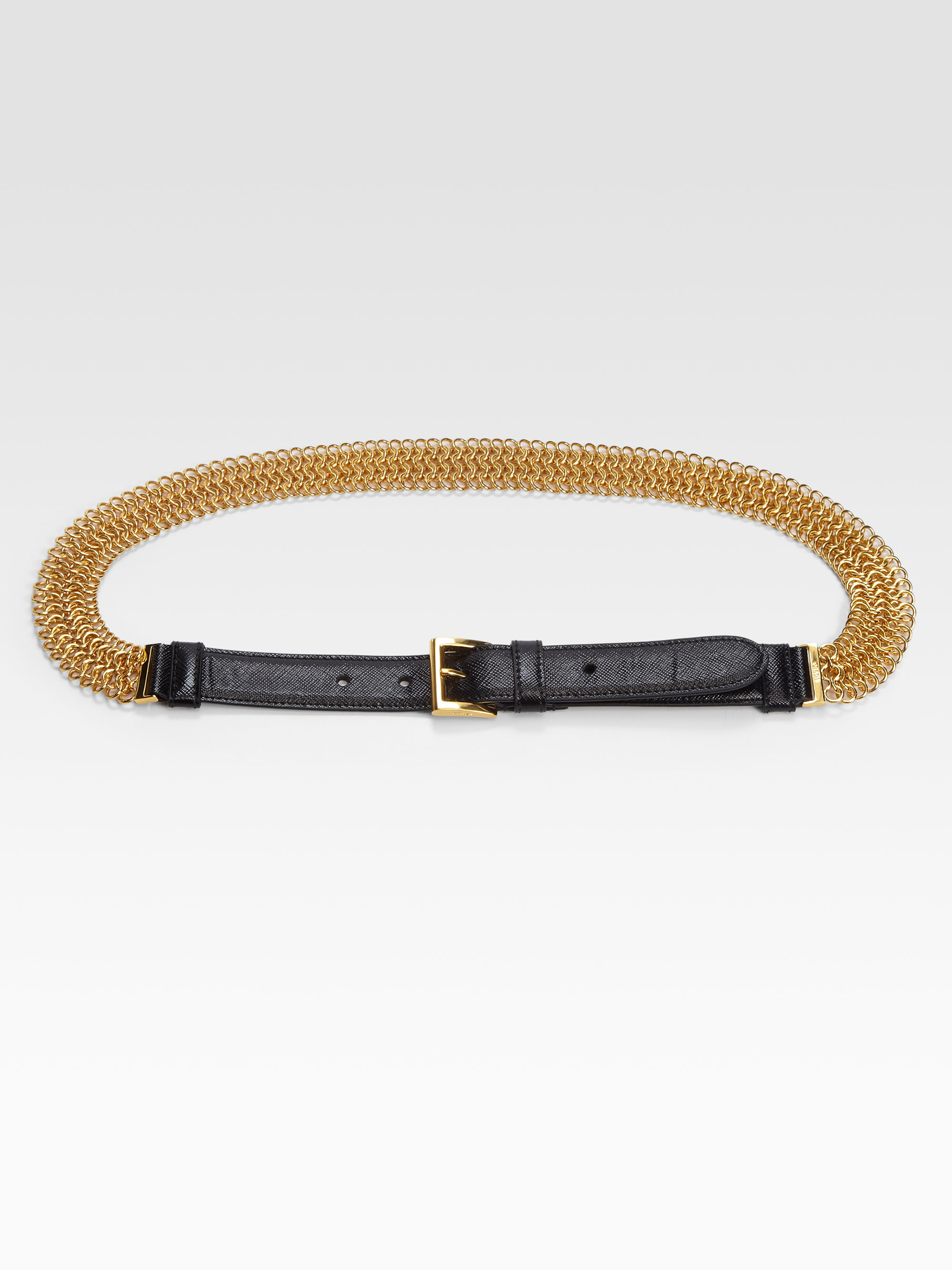 Prada Saffiano Vernice Chain Belt in Gold (black-gold) | Lyst