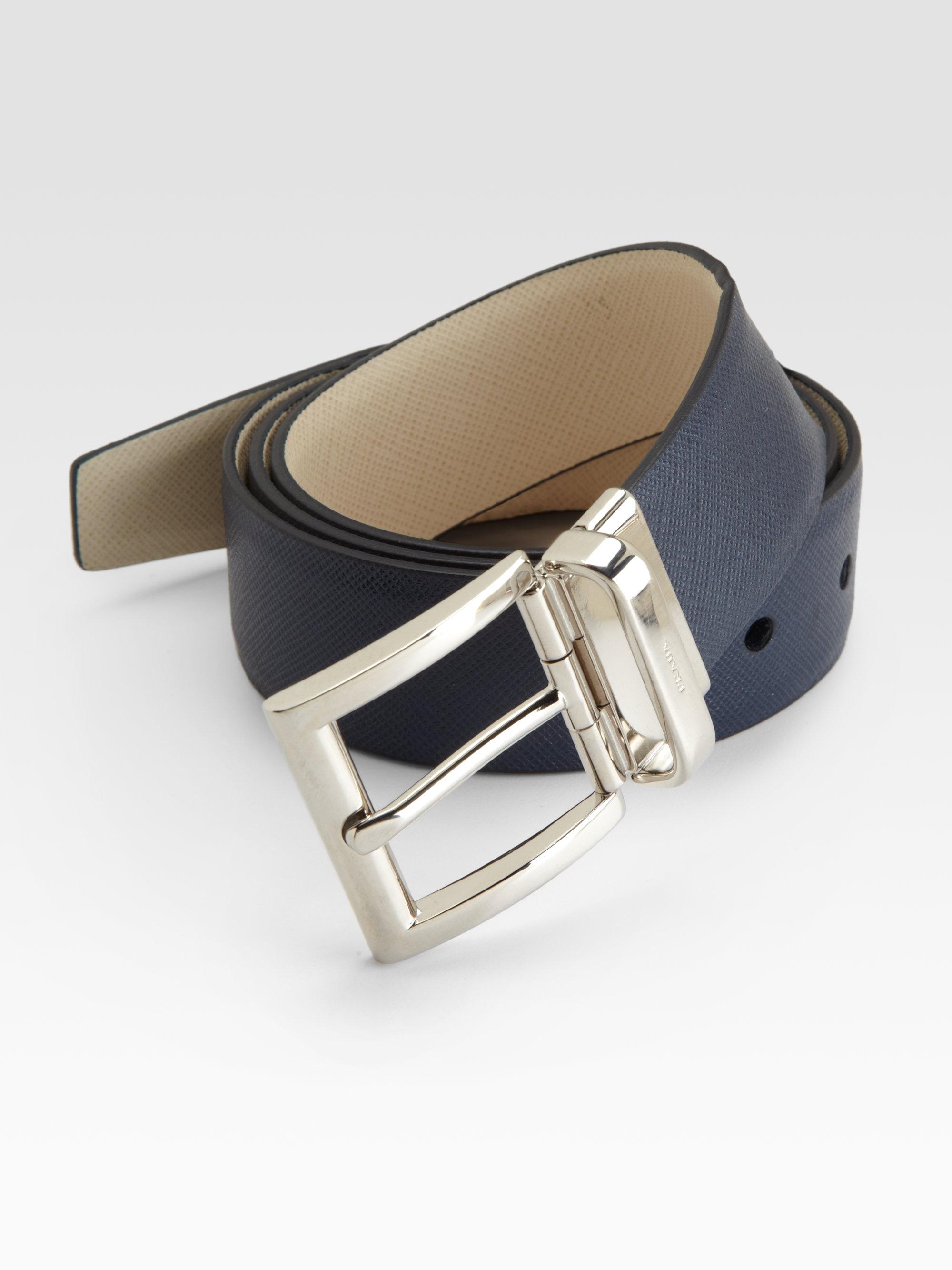prada blue black saffiano belt