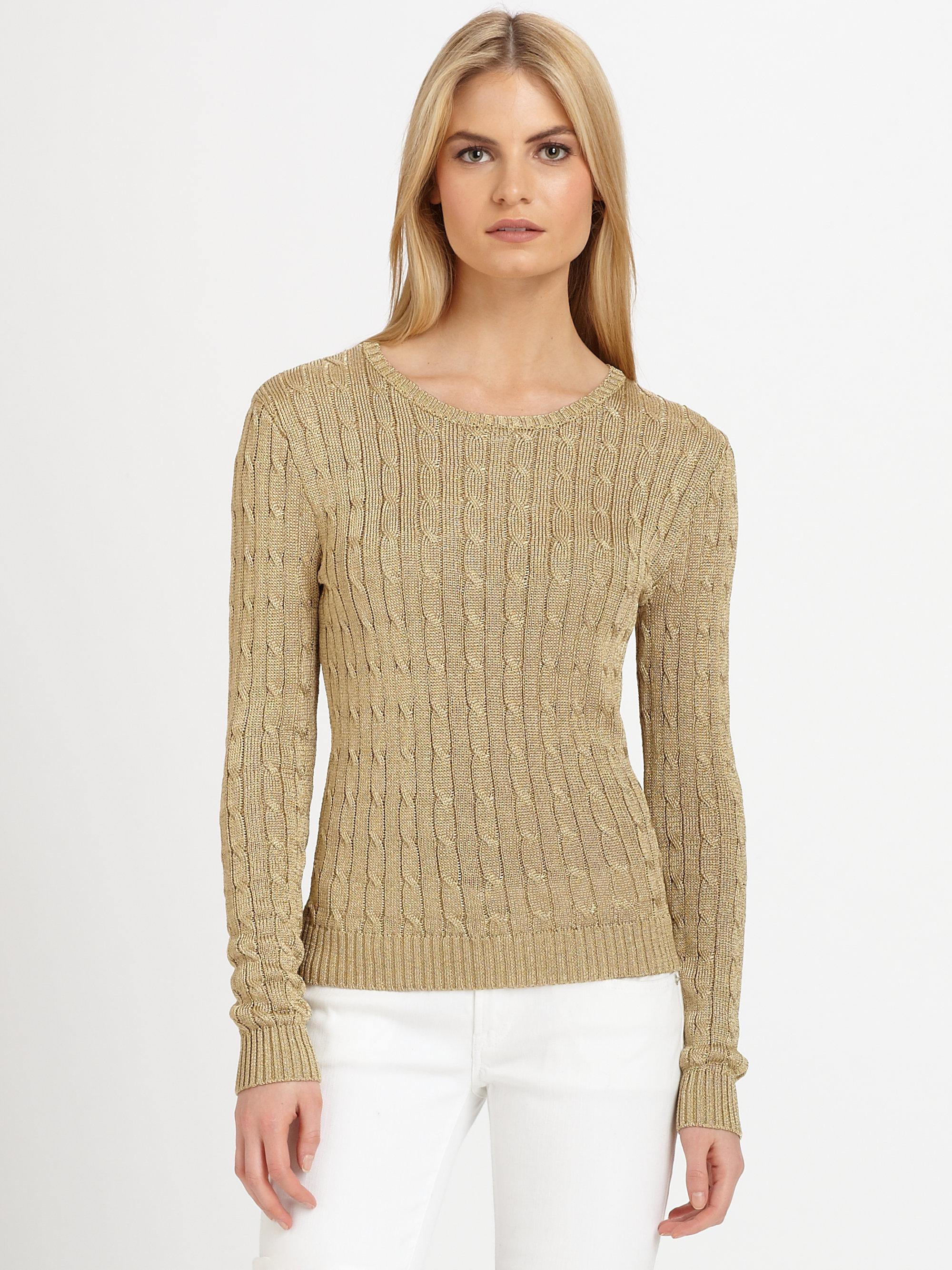 Ralph Lauren Black Label Metallic Cableknit Sweater In