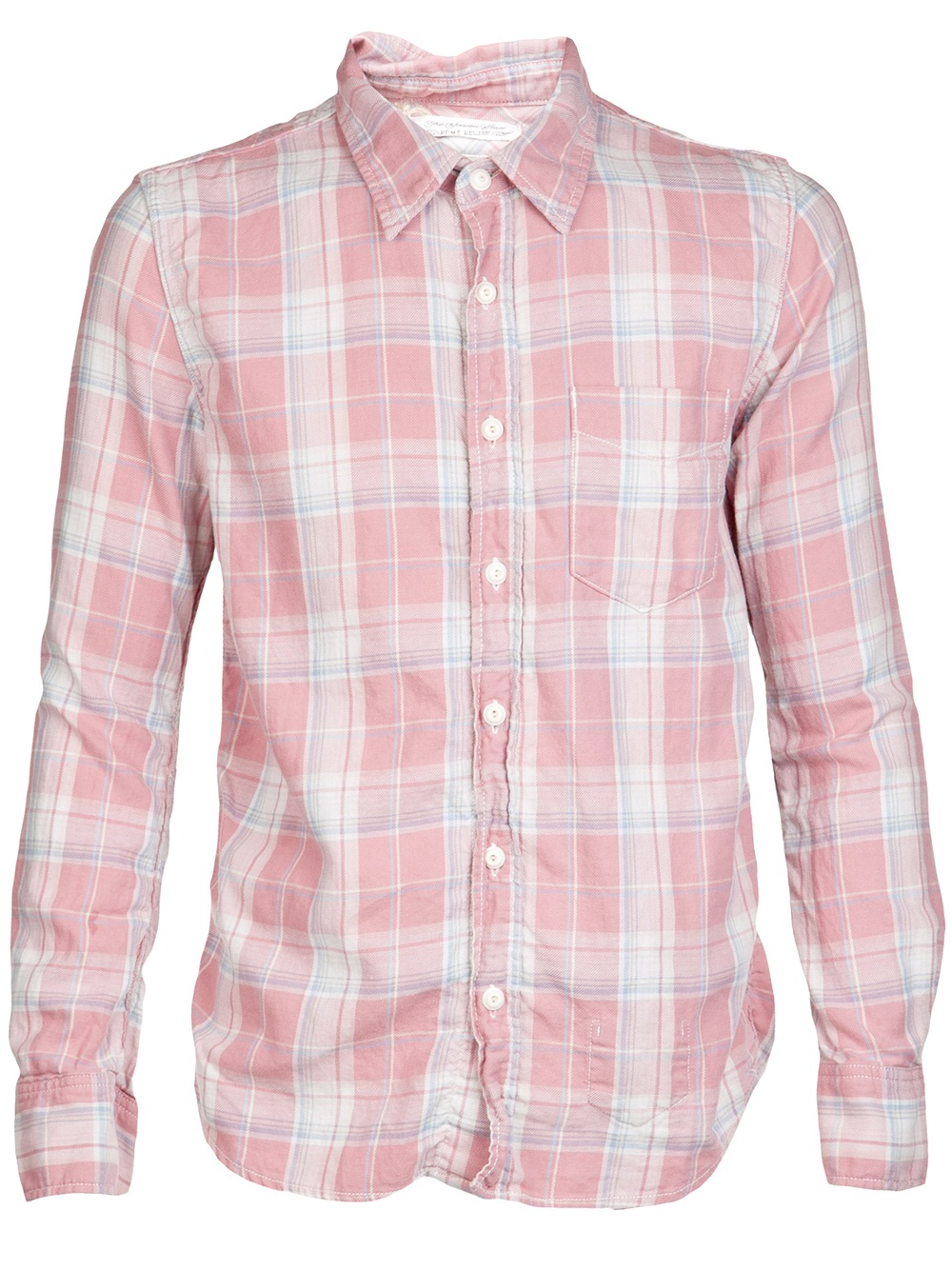 remi relief plaid cotton shirt in pink for men lyst. Black Bedroom Furniture Sets. Home Design Ideas