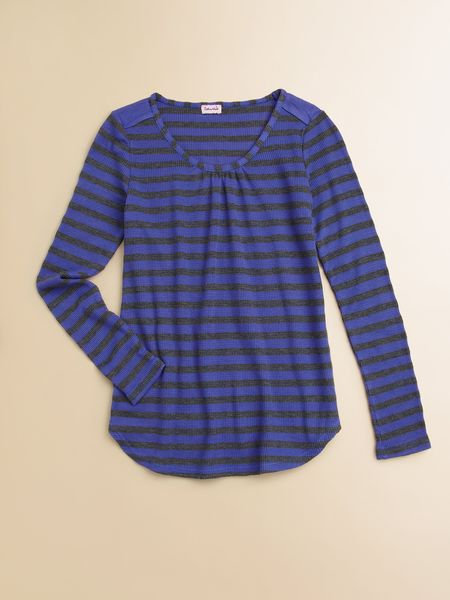 Splendid Girls Striped Waffle Knit Top in Blue (iris) - Lyst