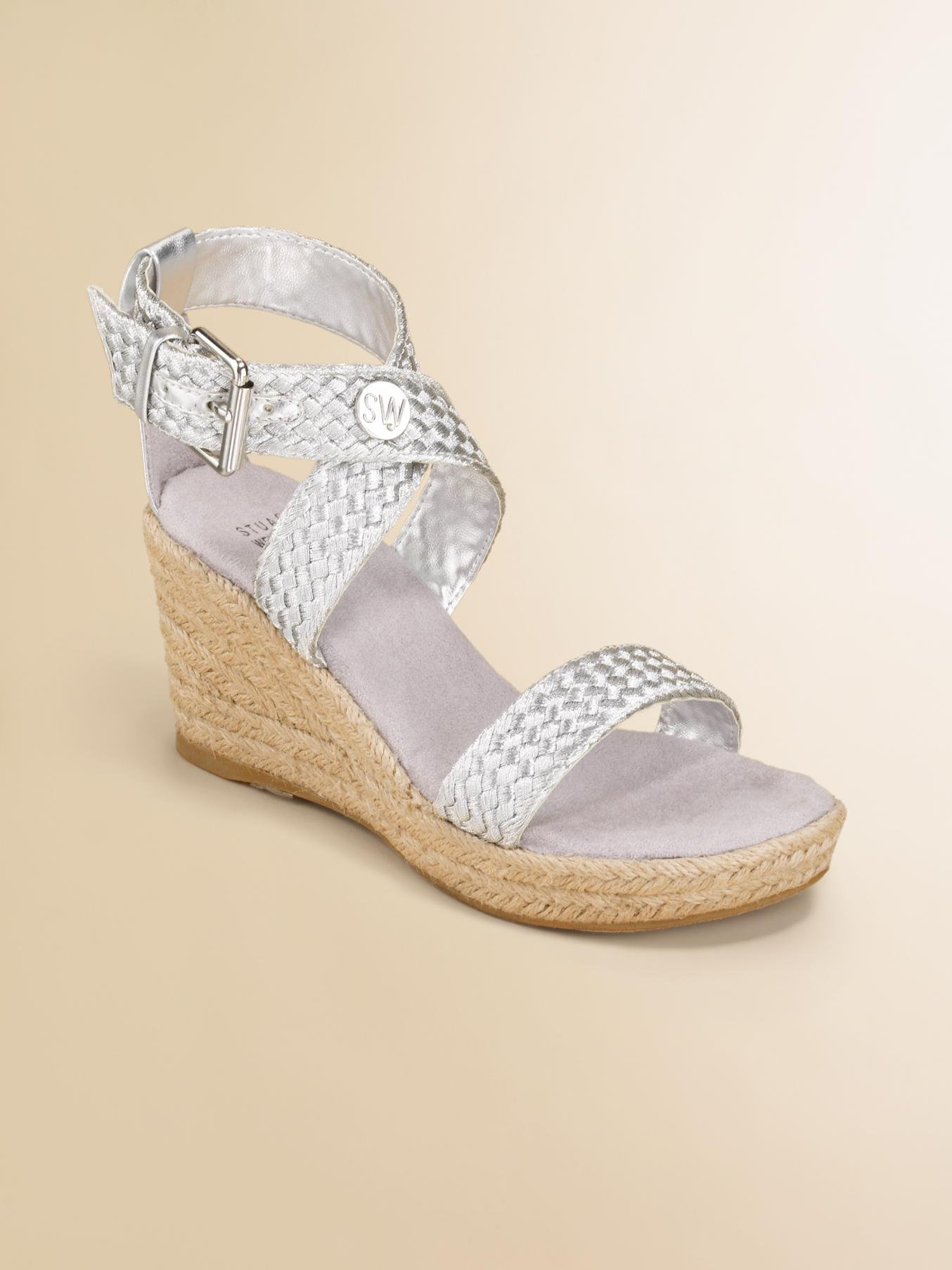 Nada Mobile App >> Stuart weitzman Girls Braided Wedge Sandals in Metallic | Lyst