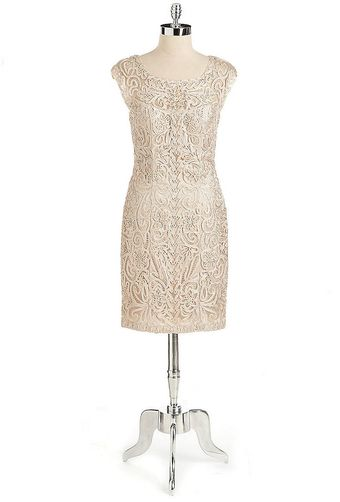 Sue Wong Embellished Cocktail Dress with Sheer Back - Lyst