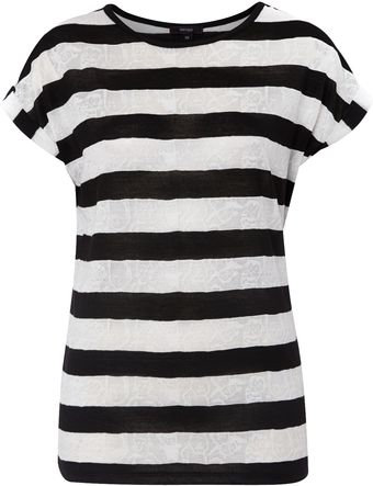 Therapy Pointelle Stripe Tee - Lyst