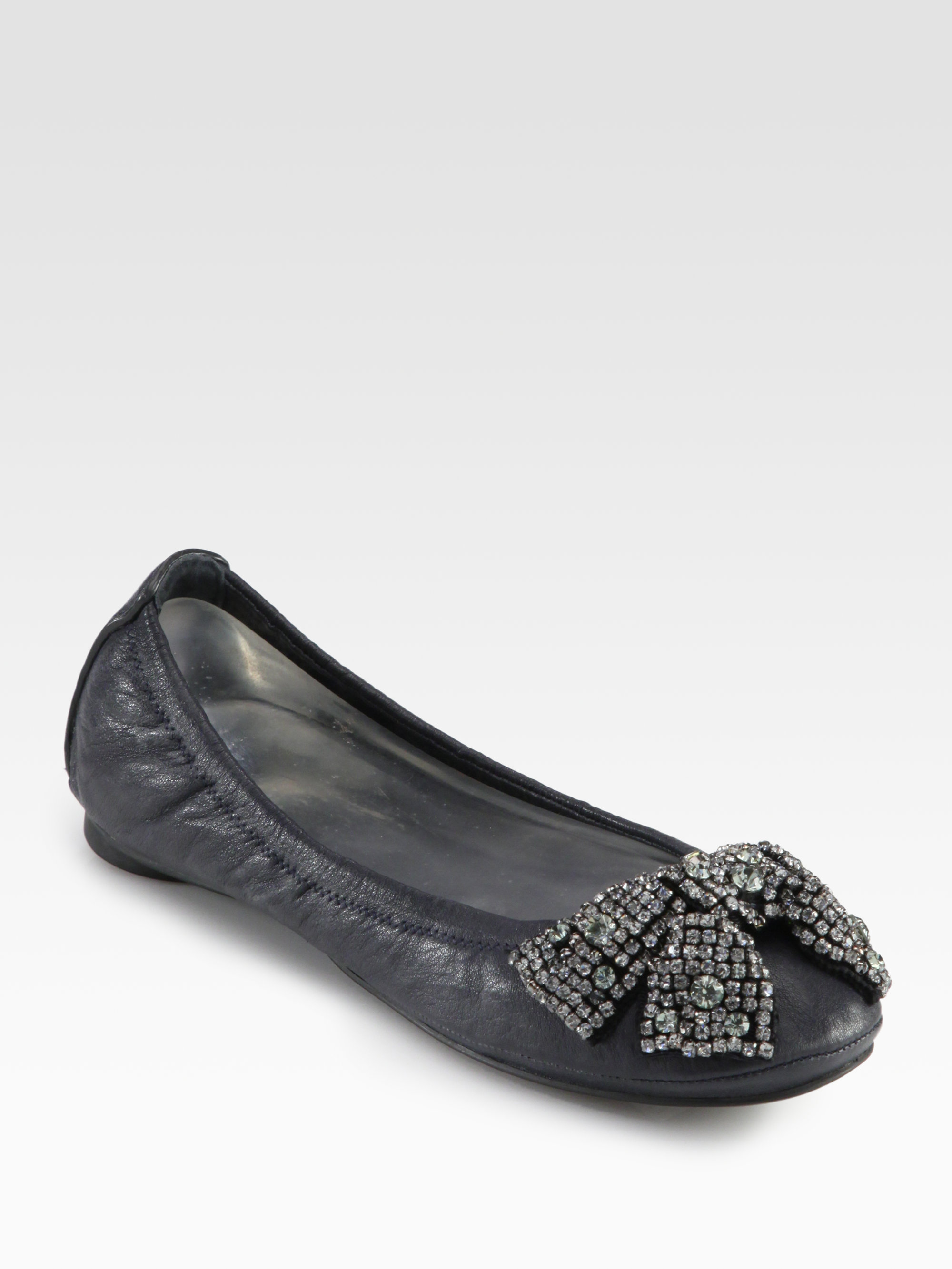 79944adb0277e Lyst - Tory Burch Eddie Leather Crystal Bow Ballet Flats in Brown