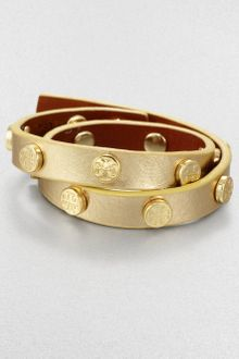 Tory Burch Double Wrap Metallic Leather Bracelet Gold - Lyst