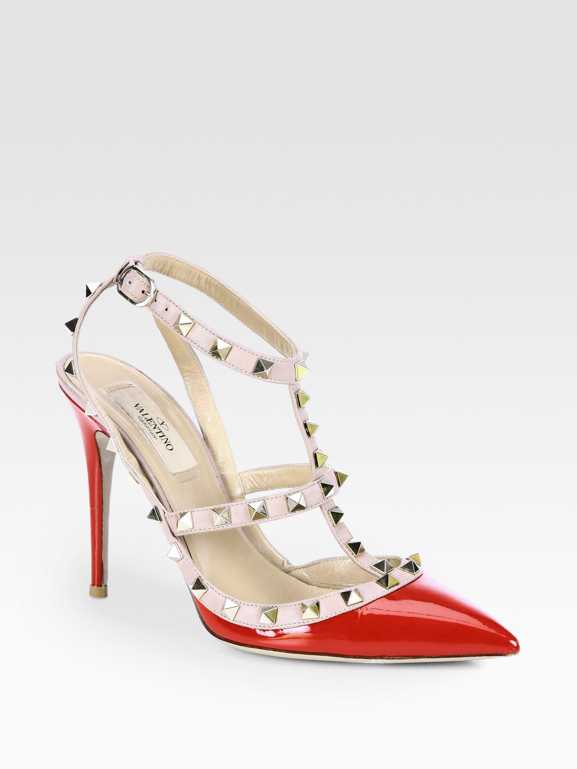 Valentino Patent Leather Rockstud Slingback Pumps In Red