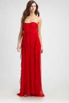 Badgley Mischka Silk Chiffon Gown - Lyst