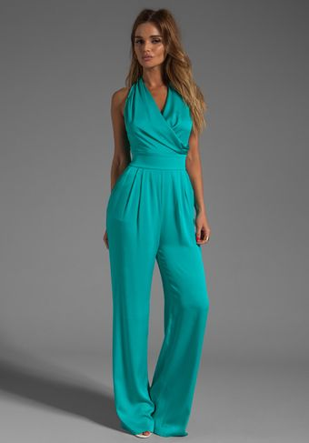 Catherine Malandrino String Back Jumpsuit in Appletini - Lyst