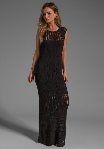Catherine Malandrino Long Cap Sleeve Pointelle and Crochet Dress in Noir - Lyst