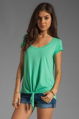 Michael Stars Short Sleeve Scoop Neck with Tie Hem in Green - Lyst