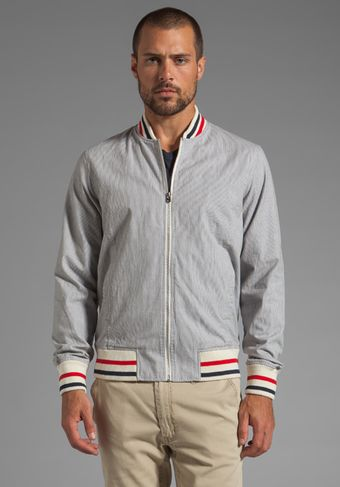 Shades Of Grey By Micah Cohen Varsity Jacket in Grey Stripe Corded Cotton - Lyst