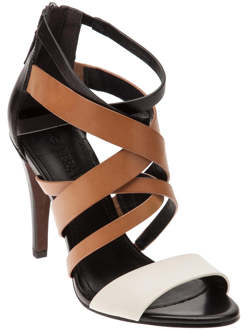 Vera wang Strappy High Heel Sandal in Brown | Lyst