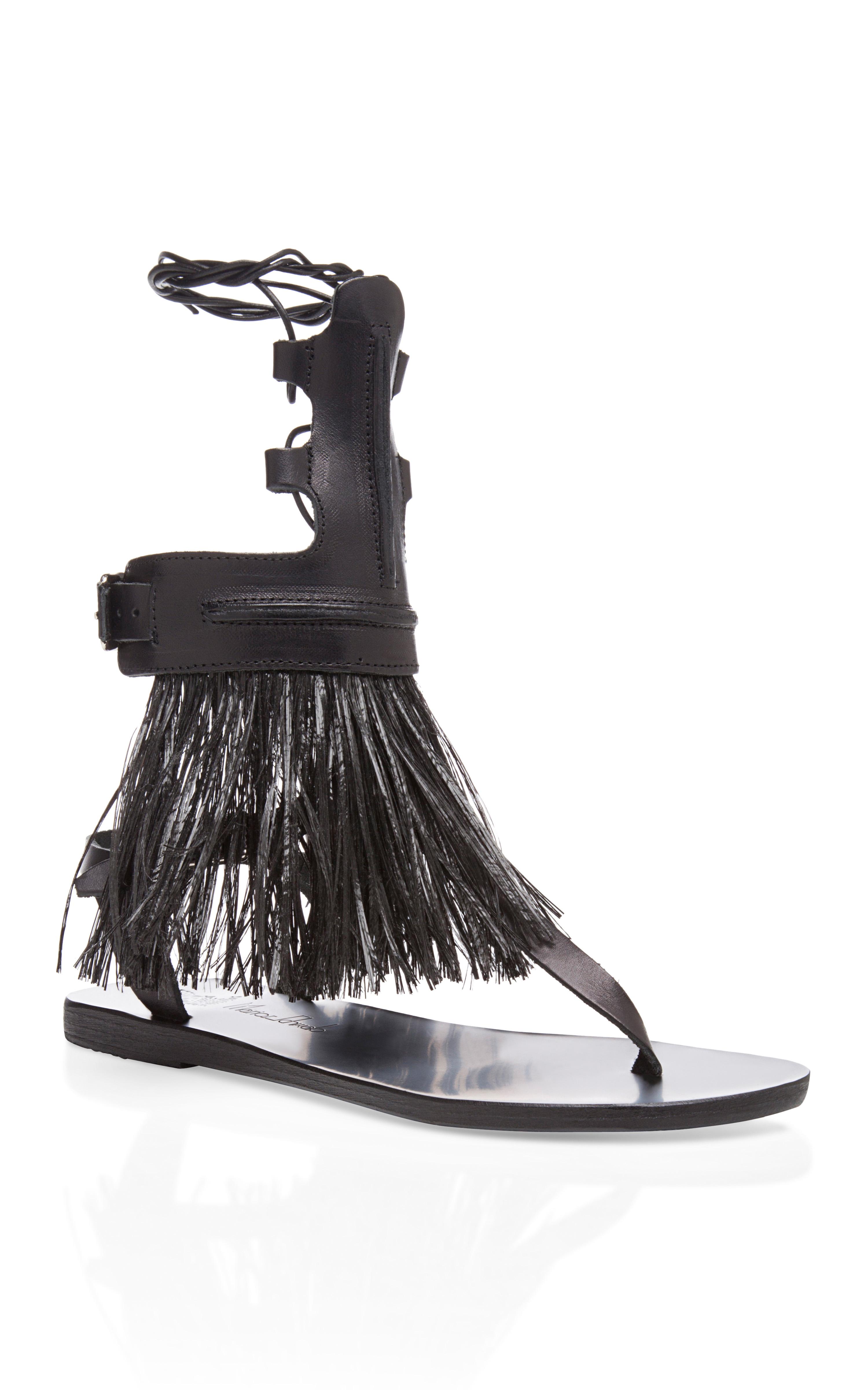 Ancient Greek Sandals Low Rise Gladiator Sandal In Black