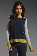 Autumn Cashmere Color Block Zip Back Sweater in Chartreusebelladonnasweatshirt - Lyst