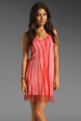 C&c California Rainbow Fringe Tank Dress in Molten Lava - Lyst