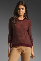 Enza Costa Cashmere Reverse Stripe Sweater in Winepebble - Lyst