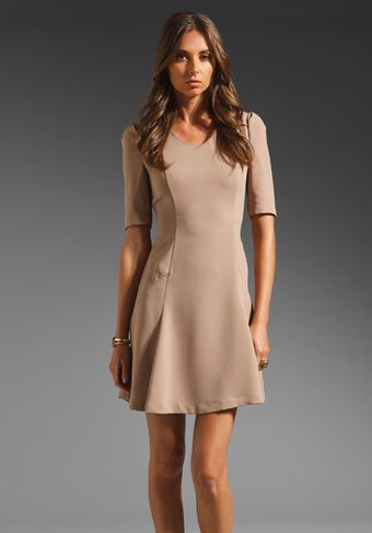 Eryn Brinie Cap Sleeve Dress in Beige - Lyst