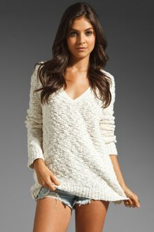 Free People Shaggy Bear Songbird Pullover in Natural - Lyst