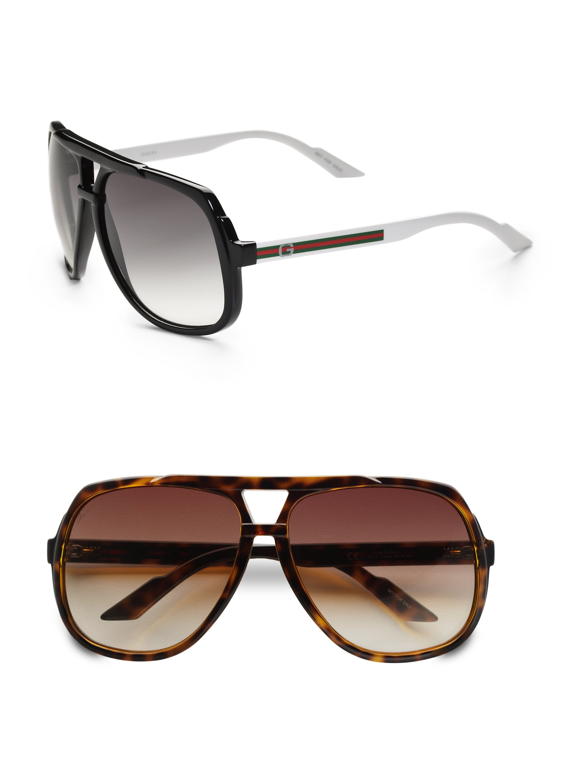 Gucci Sunglasses With Logo On Lens  gucci plastic aviator sunglasses in brown for men lyst