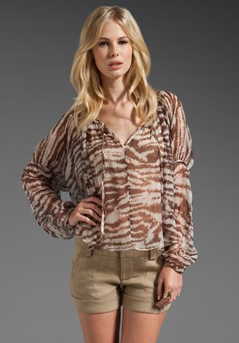 Haute Hippie Lace Front Peasant Blouse in Brown Combo - Lyst
